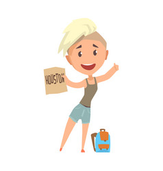 young happy woman standing with a sign hitchhiking vector image vector image