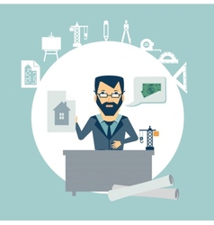 architect develops drawings from your desk vector image vector image