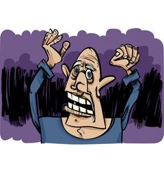 cartoon sketch of scared man vector image vector image