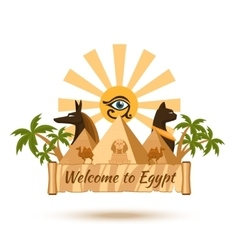 Egypt travel poster element vector image vector image