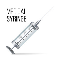 glass medical syringe isolated 3d vector image vector image