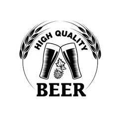 high quality beer emblem vector image vector image