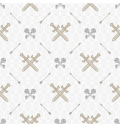Seamless background with old keys and swords vector image vector image