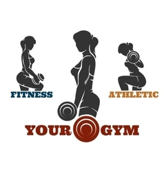 Training fitness woman emblem set vector image vector image