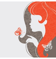 Beautiful girl with butterfly vector image vector image