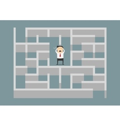 Frustrated businessman trapped in a maze vector image vector image