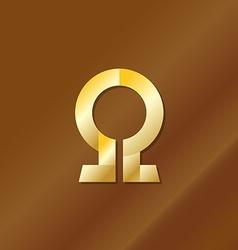Golden style omega letter symbol vector image vector image