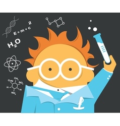 Crazy scientist in glasses with a bulb vector image vector image