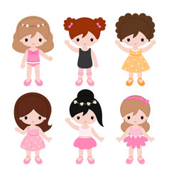 cute little girls playing on the nature summer vector image