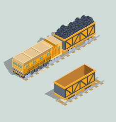 set of locomotive and railway wagons with coal vector image vector image