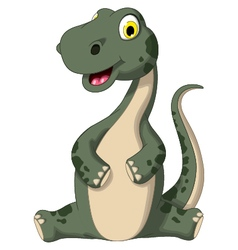 cute dinosaur cartoon sitting vector image vector image