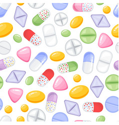 heap of tablets and capsules seamless vector image