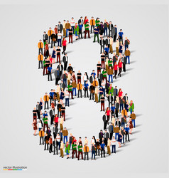 Large group of people in number 8 eight form vector