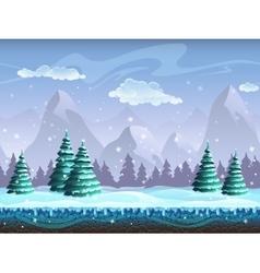 Seamless cartoon winter landscape background vector image vector image