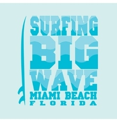 Surfing miami beach florida vector