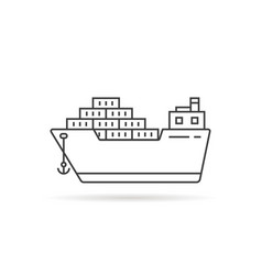 thin line cargo ship with shadow vector image vector image