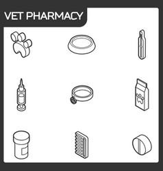 vet pharmacy outline isometric icons vector image vector image