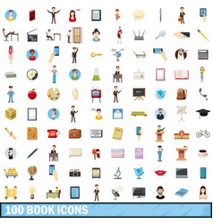 100 book icons set cartoon style vector