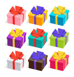 3d presents collection gifts with ribbons and bows vector