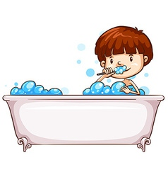 A simple sketch of a boy bathing vector image
