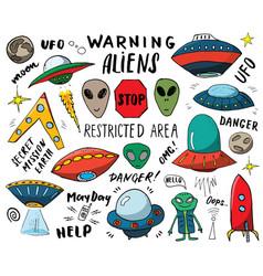 aliens and ufo hand drawn sketch set cute cartoon vector image