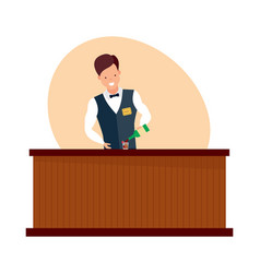 bartender with bottle in hands pouring wine vector image