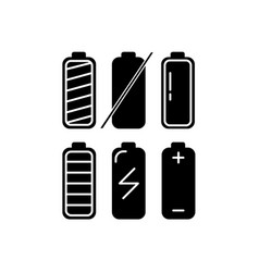 battery icon silhouette set in flat style vector image