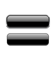 Black glass buttons with and without metal frame vector
