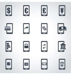 black mobile banking icon set vector image