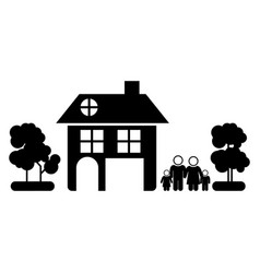Black silhouette of family away from home in white vector