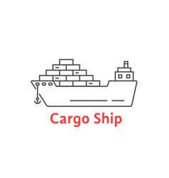 black thin line cargo ship icon vector image