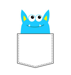 blue monster silhouette in the pocket looking up vector image