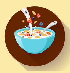 Breakfast cereal in bowl filled with milk vector