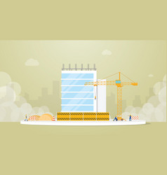 building construction development with team vector image