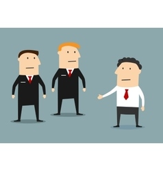 Businessman with guards on meeting vector