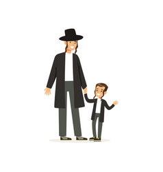 Cartoon characters of orthodox jews smiling father vector