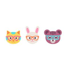 Cat rabbit bear faces with glasses flat design vector
