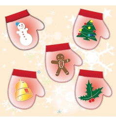 Christmas collection of Gift gloves vector image