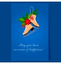 Christmas Skates with Fir Berries and Poinsettia vector