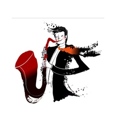 Close-up of man holding saxophone vector