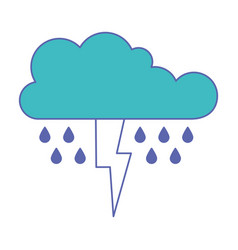 Cloud with rain and thunderbolt in blue and purple vector