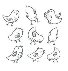 collection of cute hand drawn bird doodles vector image