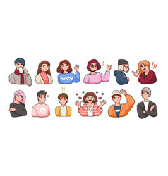 Collection of portraits of cute funny anime vector