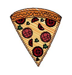 Color crayon stripe cartoon slice pizza of vector