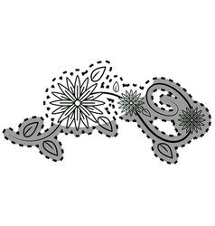 Contour flowers branches decoration vector