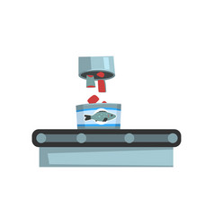 Conveyor belt with canned fish seafood production vector