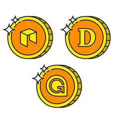 cryptocurrency black outline gold icons dogecoin vector image