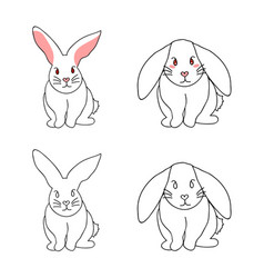 Cute white rabbit isolated on white background vector