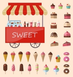 Delicious sweets and ice cream icons set vector image
