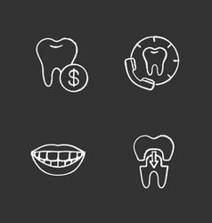 dentistry chalk icons set vector image
